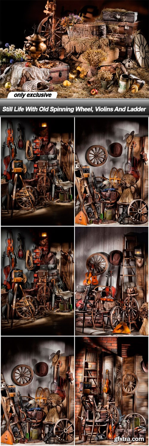 Still Life With Old Spinning Wheel, Violins And Ladder - 7 UHQ JPEG