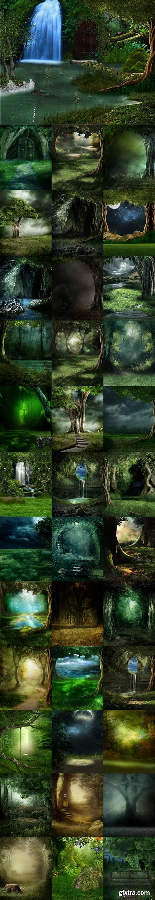 Mysterious forest fairy backgrounds