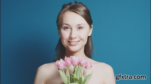 Сloseup portrait of beautiful healthy smiling woman with fresh skin slow motion skincare concept you