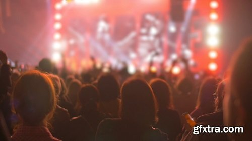 Slow motion clip of many people having fun on the night concert standing back near the stage