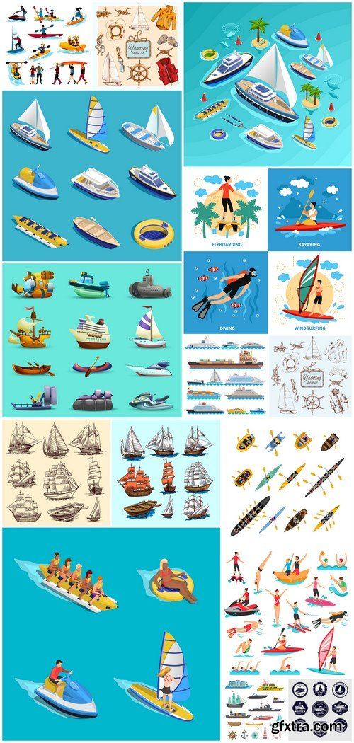 Ships yachts and boats icons vector illustration 15X EPS
