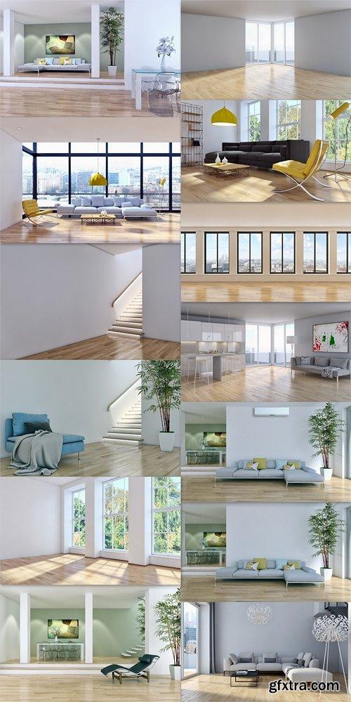 Modern living room 3d render 2