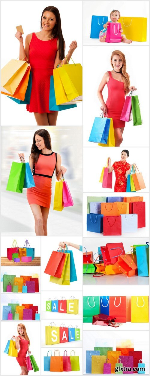 Shopping colorful sale paper bags close-up 17X JPEG