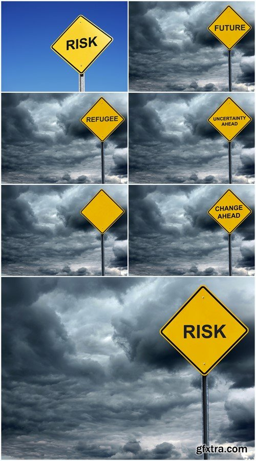 Risk concept warning road sign 7X JPEG
