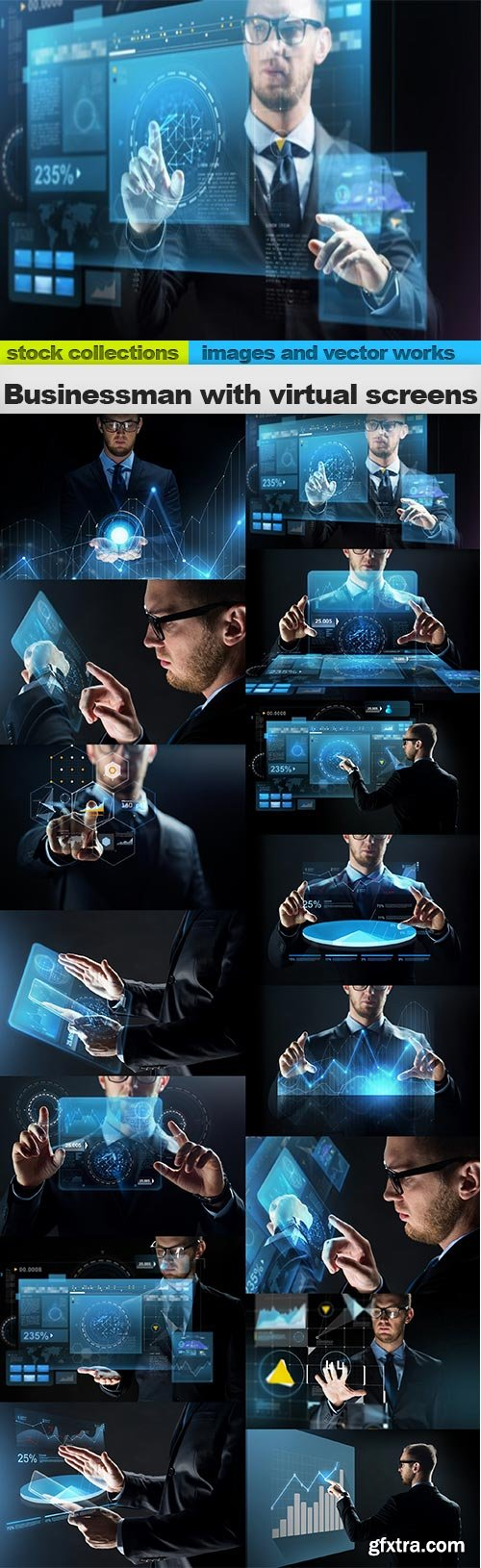 Businessman with virtual screens, 15 x UHQ JPEG