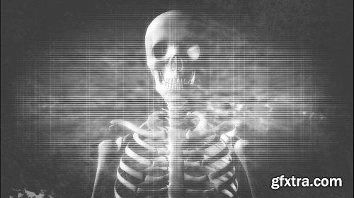 Rotating skeleton old tv style
