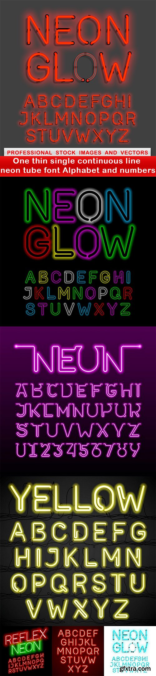 One thin single continuous line neon tube font Alphabet and numbers - 7 EPS