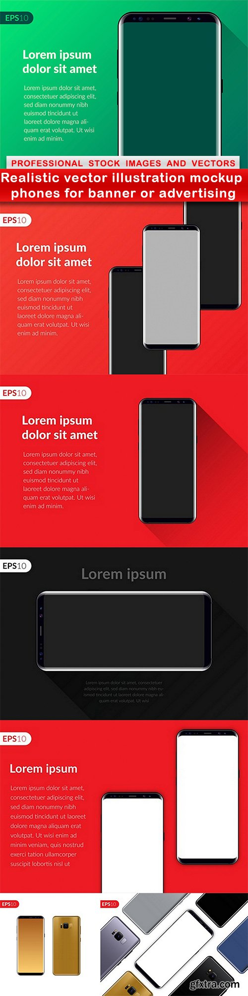 Realistic vector illustration mockup phones for banner or advertising - 7 EPS