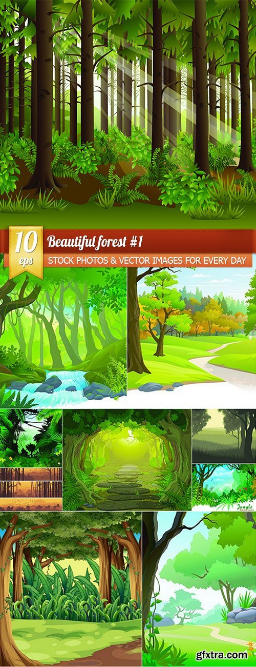 Beautiful forest 1, 10 x EPS