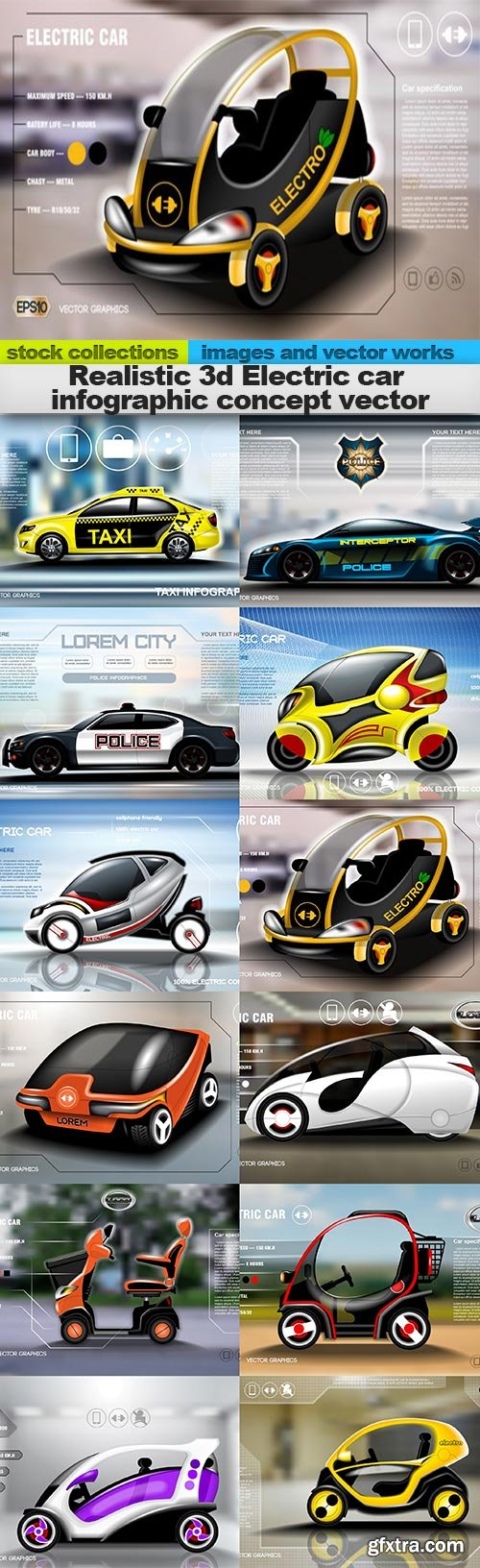 Realistic 3d Electric car infographic concept vector, 12 x EPS