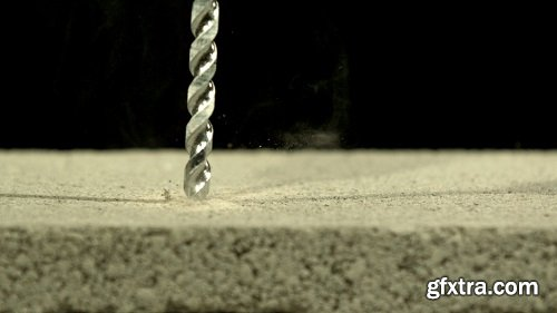 Slow motion drilling into concrete