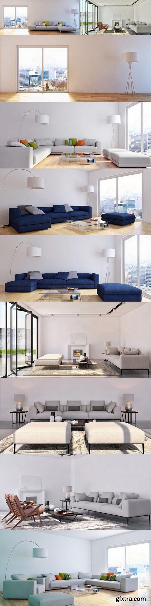 Modern living room 3d render 3