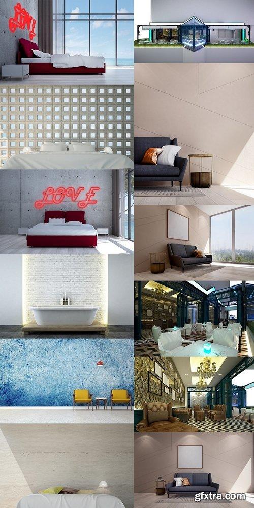 The new scene 3d rendering interior of luxury bar design 4