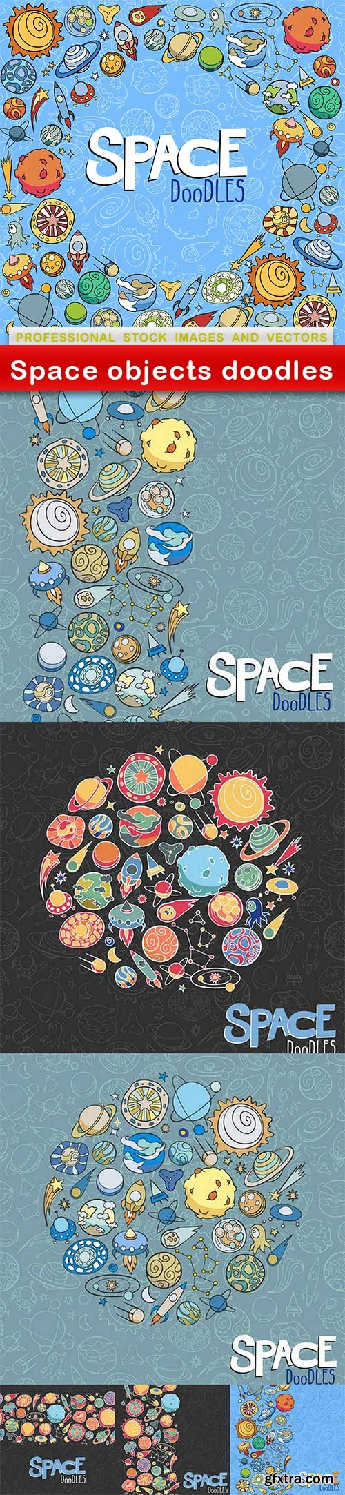 Space objects doodles - 7 EPS