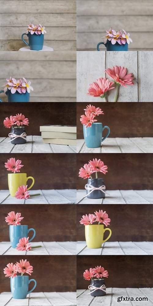 Great background with decorative blue mug and flowers