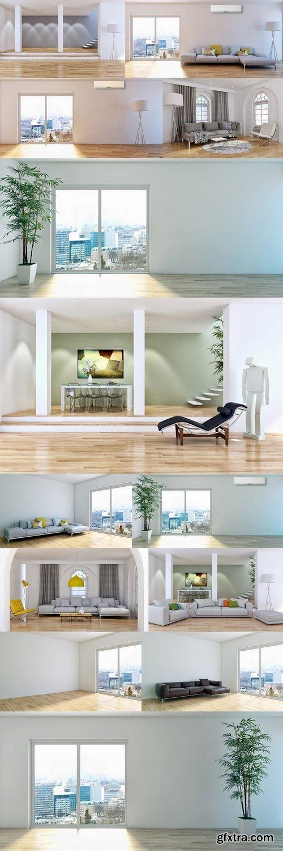 Modern living room 3d render 4