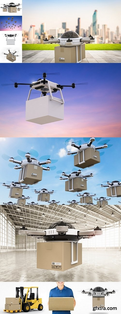 Delivery drones flying 2