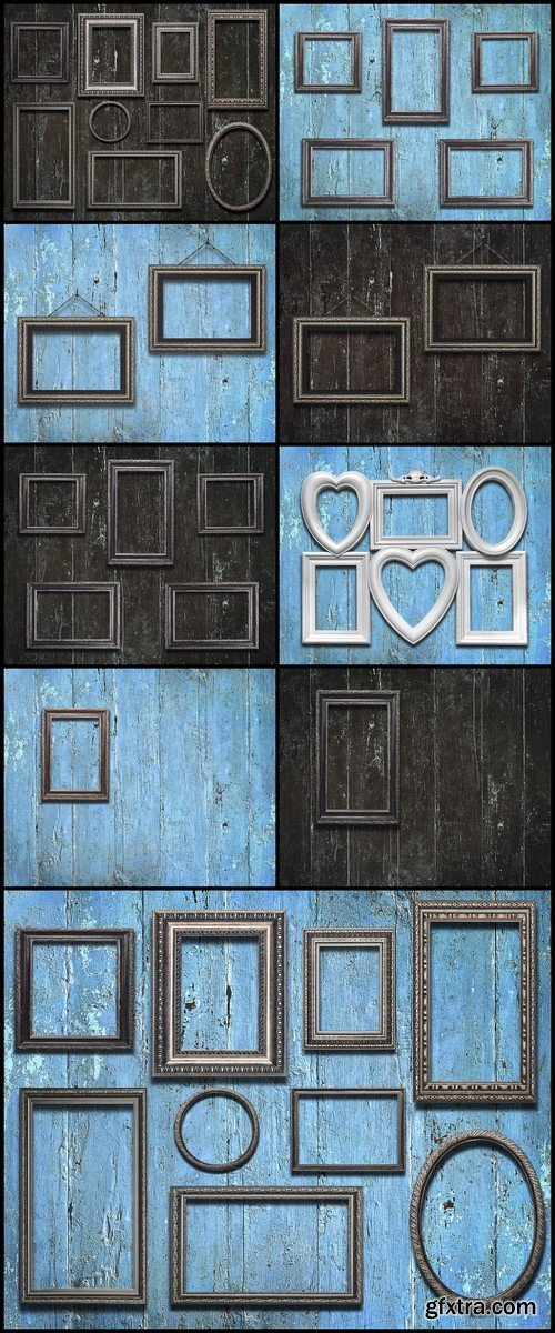 Old wooden frames on vintage wooden background 9X JPEG
