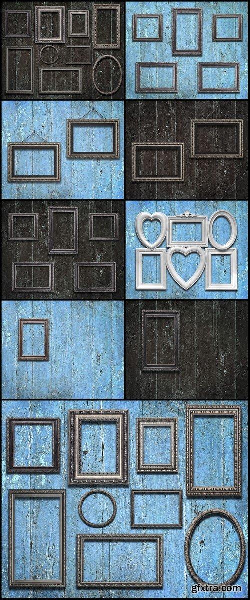 Old wooden frames on vintage wooden background 9X JPEG