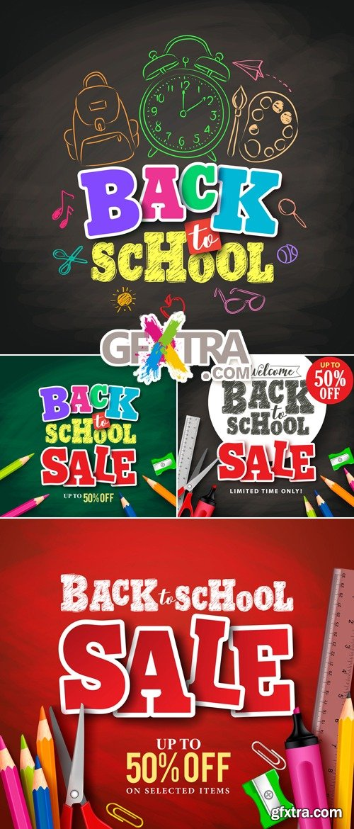 Back to School Banners Vector 2