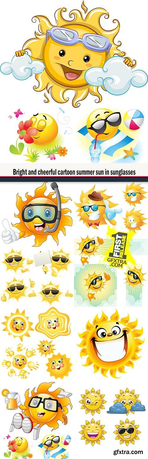 Bright and cheerful cartoon summer sun in sunglasses