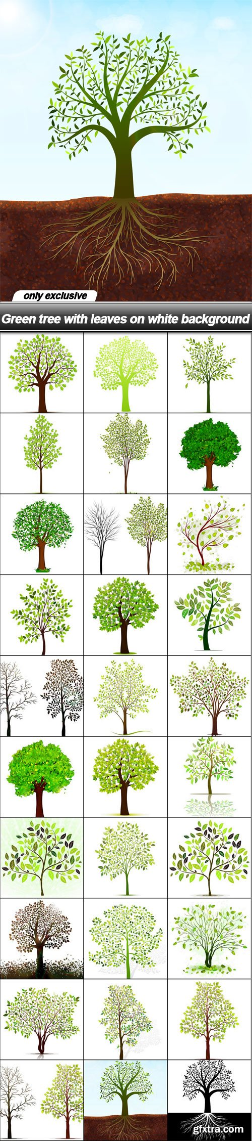 Green tree with leaves on white background - 30 EPS
