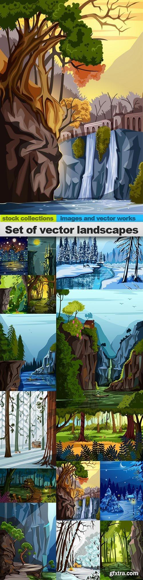 Set of vector landscapes, 15 x EPS