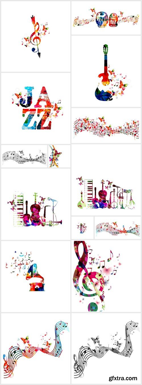 Treble clef and notes 15X EPS