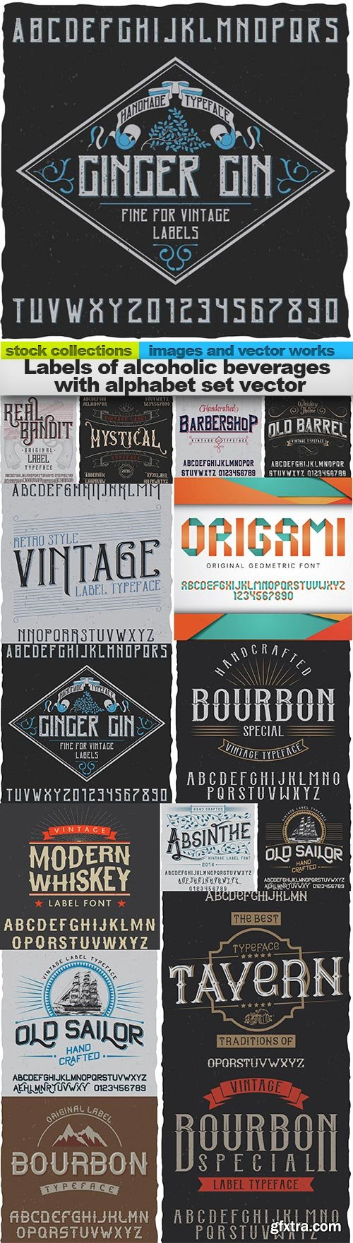 Labels of alcoholic beverages with alphabet set vector, 15 x EPS