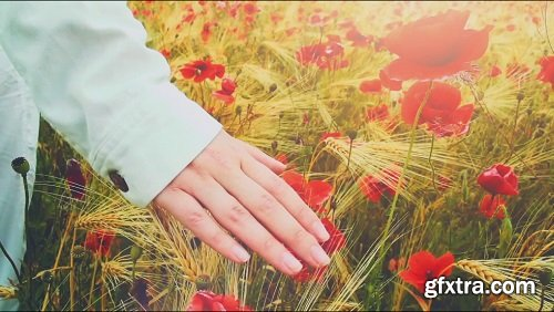 Young attractive woman dressed in white clothes is running-through a poppies field feeling happy and free slow motio filmed at 250-fps