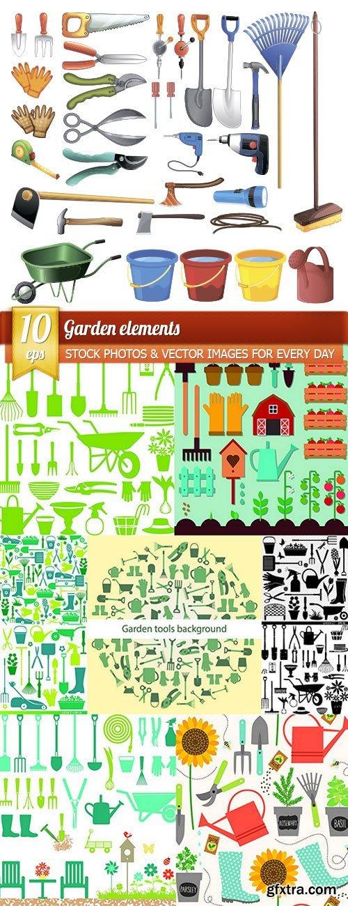 Garden elements, 10 x EPS