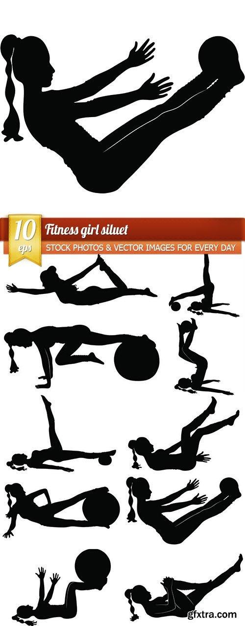 Fitness girl siluet, 10 x EPS
