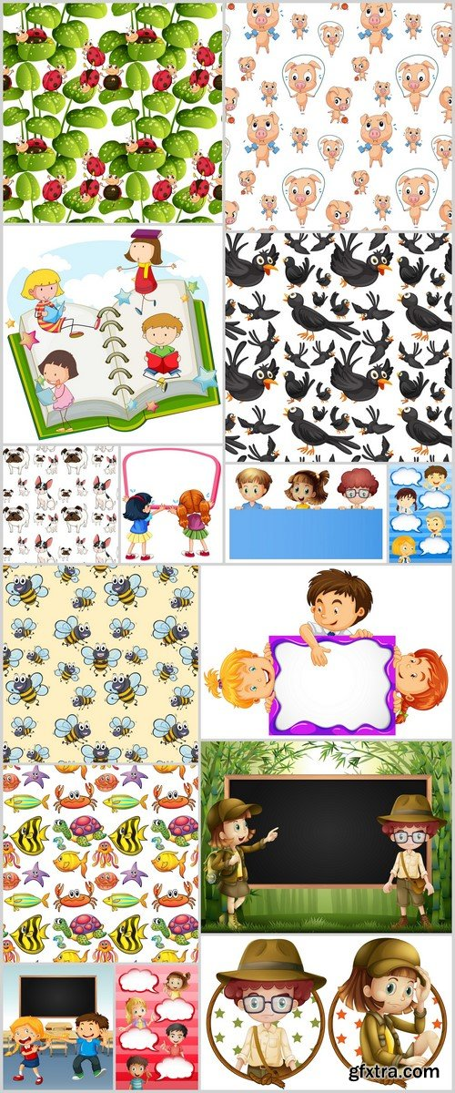 Seamless background and children 15X EPS