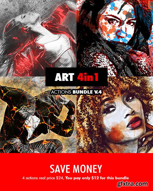 Graphicriver Art - 4in1 Photoshop Actions Bundle V.4 19265619