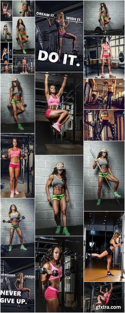 Athletic female body in a gym club 22X JPEG