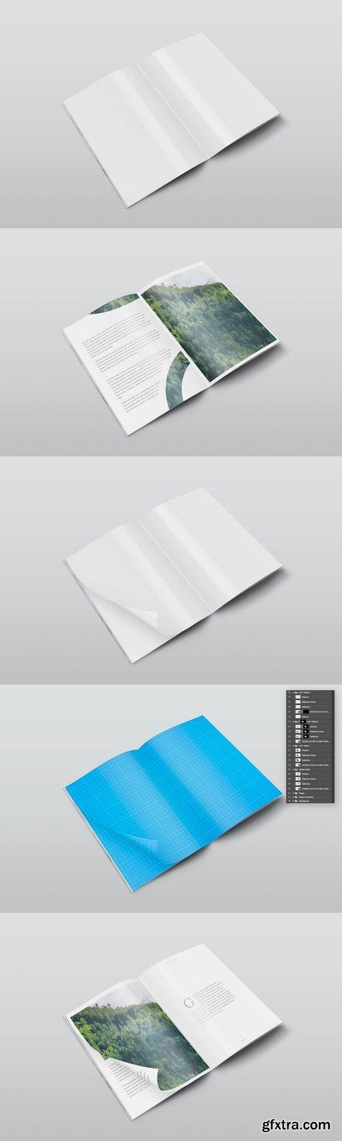A4 PSD Magazine Mockup Isometric View