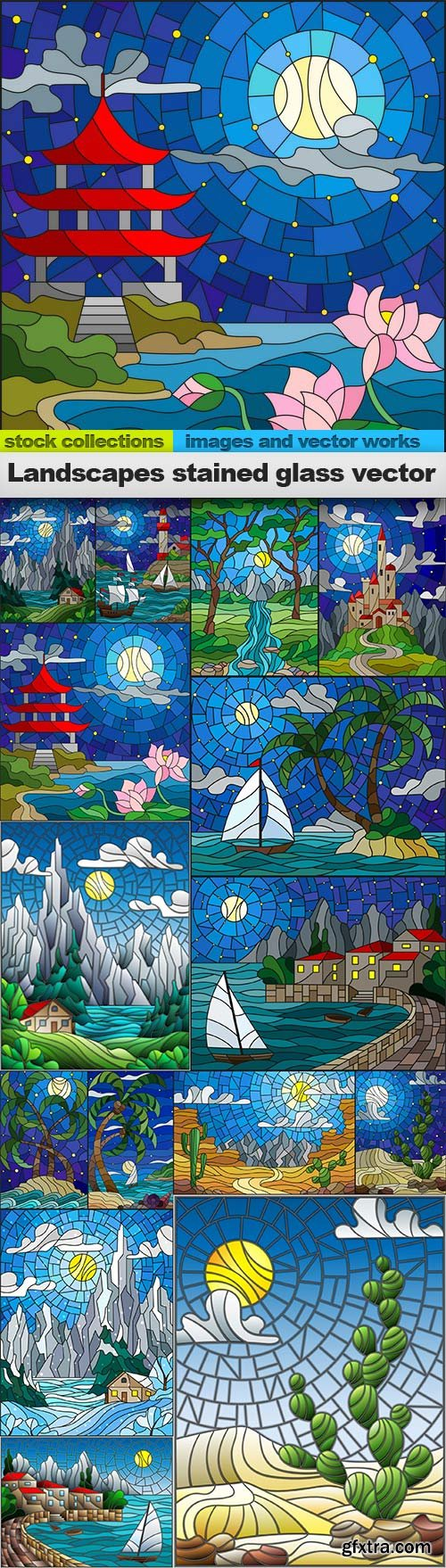 Landscapes stained glass vector, 15 x EPS