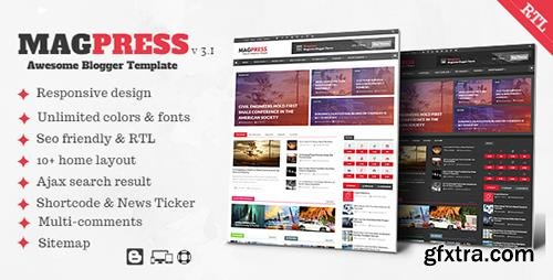 ThemeForest - Magpress v3.1 - Magazine Responsive Blogger Template - 13300247