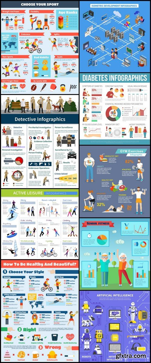 Infographics with agents, different kinds vector illustration 9X EPS