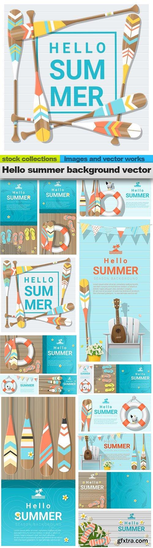 Hello summer background vector, 15 x EPS