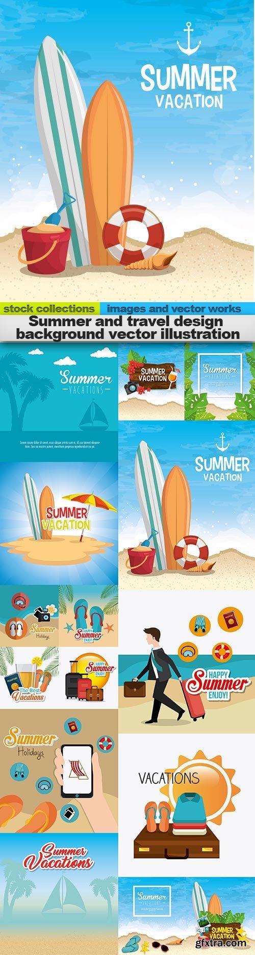 Summer and travel design background vector illustration, 15 x EPS