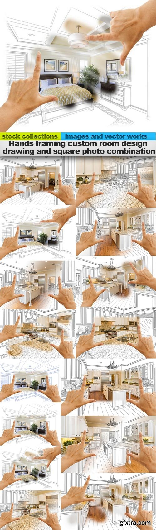 Hands framing custom room design drawing and square photo combination, 15 x UHQ JPEG