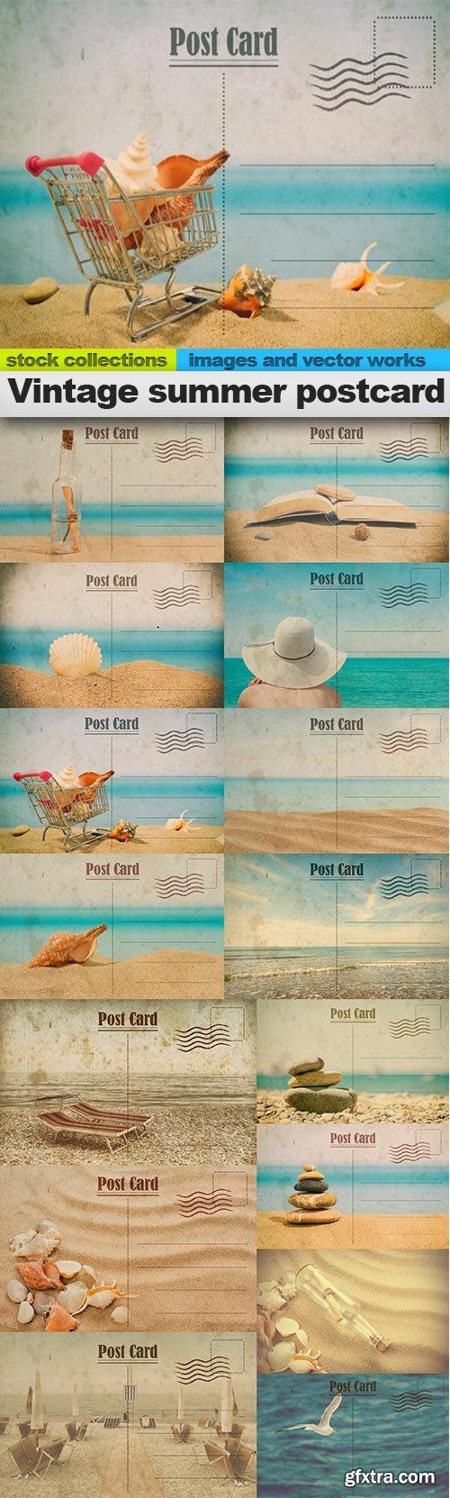 Vintage summer postcard, 15 x UHQ JPEG