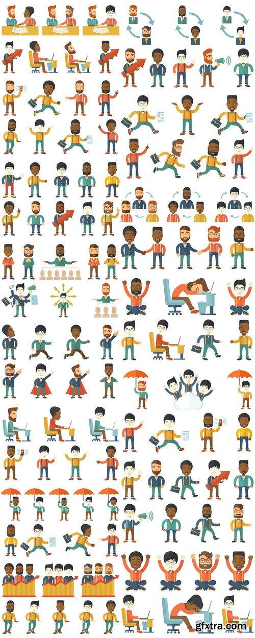 Happy businessman set of vector illustrations 15X EPS
