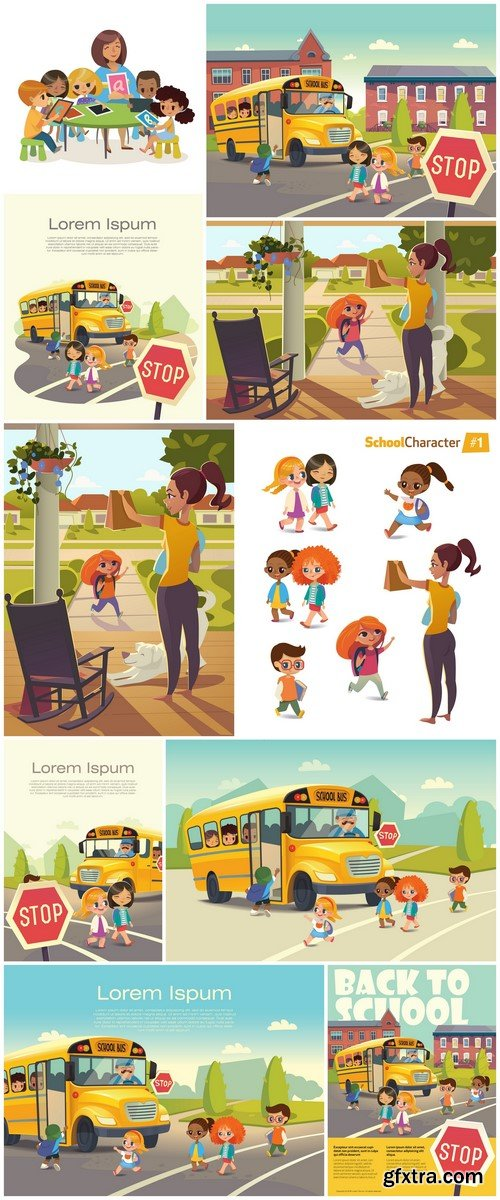 Children and the school bus 10X EPS