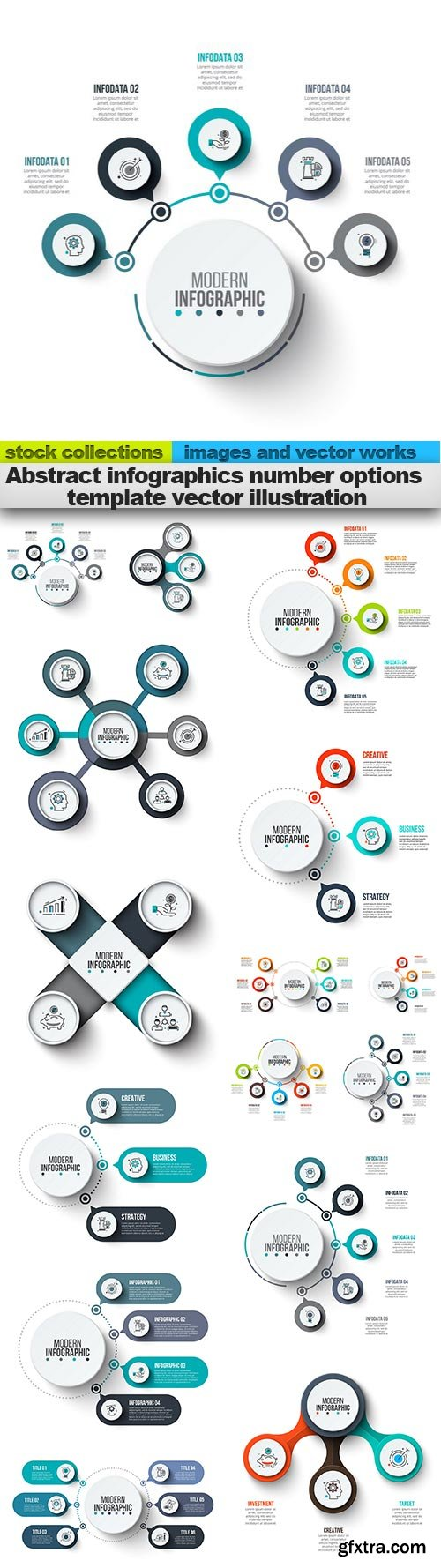 Abstract infographics number options template vector illustration, 15 x EPS