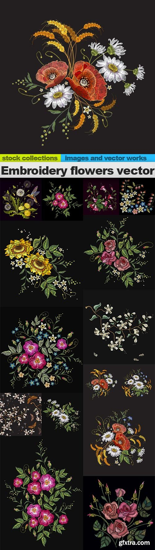 Embroidery flowers vector, 15 x EPS