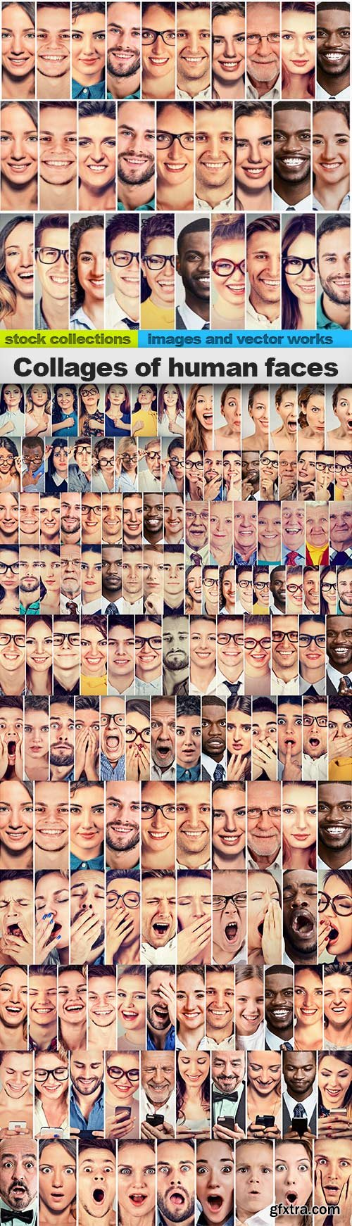 Collages of human faces, 15 x UHQ JPEG