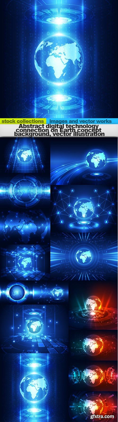 Abstract digital technology connection on Earth concept background, vector illustration, 15 x EPS