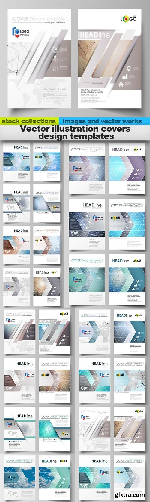 Vector illustration covers design templates, 15 X EPS